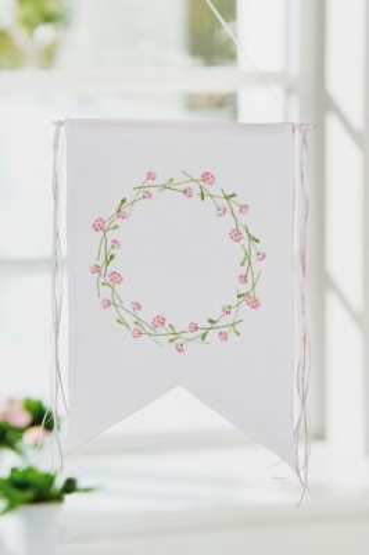 Stoffwimpel, weiß -Gänseblümchen-K´ranz-