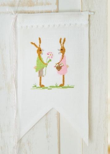 Stickdatei -Hasenpaar, rosa