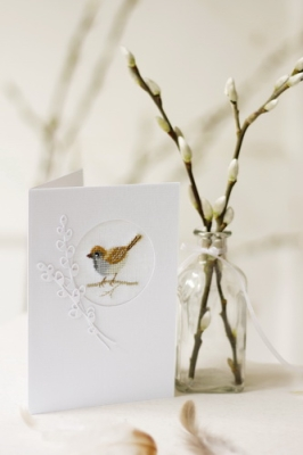 Passepartoutkarte -Vogel mit Weidenkätzchen-