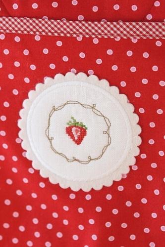 Button für Topflappen -Erdbeere-