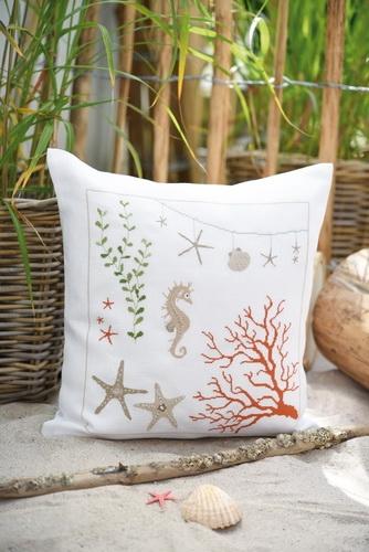 cushion cover -sampler sea horse-