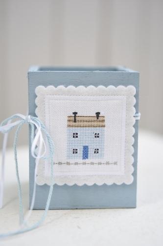 Stickbutton -Haus-, quadratisch