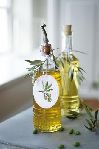 Stickanhänger -Olive- und -Lavendel-