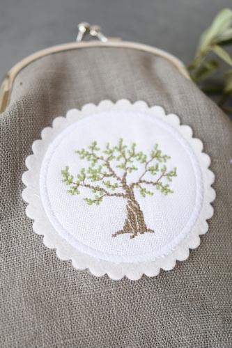 Stickbutton, rund -Olivenbaum-