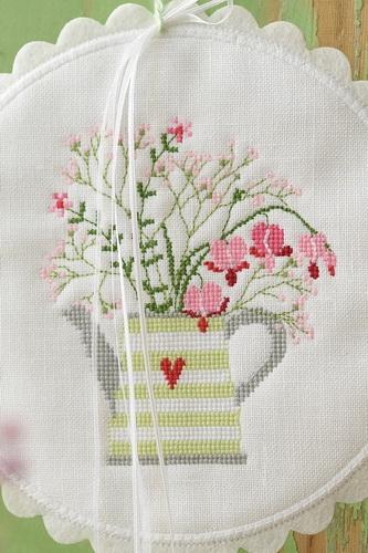 Stickdatei -Teekanne mit Blüten-
