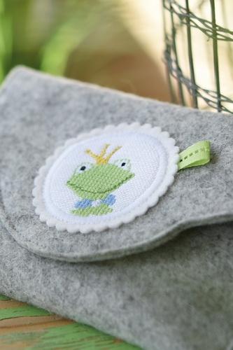 Stickbutton -Frosch-, einzeln