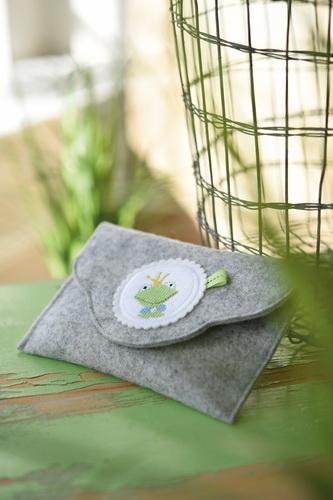 Filztasche mit Stickbutton -Frosch-