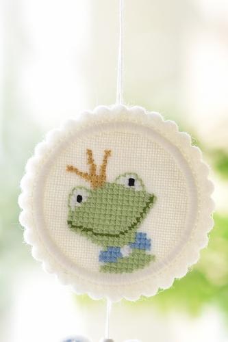 Stickdatei -Button mit Frosch-