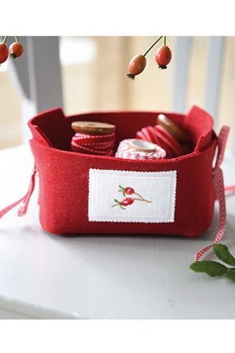 Filzkörbchen -rot- mit Stickbutton
