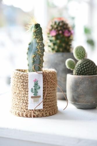 Häkel-Set für 2 Übertöpfe -Kaktus-