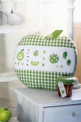 Kissen -Grüner Apfel mit Reißverschluss-