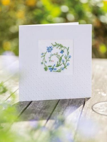 Passepartoutkarte -Blauer Blumenkranz-