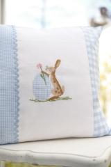 Stickdatei -Hase mit Gänseblümchen-Ei, appliziert