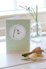 Passepartoutkarte -Schneeglöckchen mit Naturpapier-