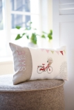 cushio cover -bicycle/houses-