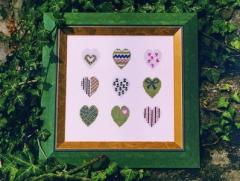 Stickpackung Herzen, grün