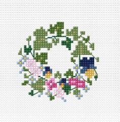 Efeukranz mit Blüten, Gratismuster als Downloadfile
