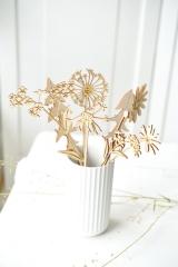 9-teiliger Holzblumen-Strauß, gemischt