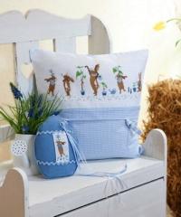 Kissen, Vichy-Karo, blau