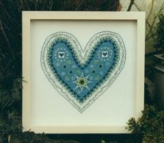 Stickpackung Herzfieber, blau