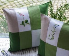 Kissen, Patchwork Grüntöne aus B/112 Blütentanz