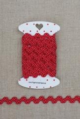 Zackenlitze rot mit weißen Punkten, mittel