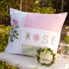 Kissen -Rose-, rosa-grün