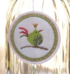 Stickbutton -Zaunkönig-, grün